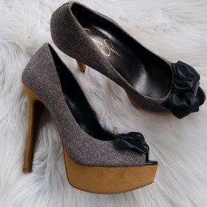Jessica Simpson beautiful tweed high heels